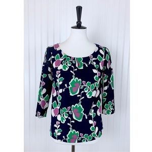 Banana Republic • Navy Pink Green Floral Top • S